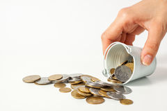 Valuta Ucraina dei contanti del pezzo della moneta dei soldi Immagini Stock