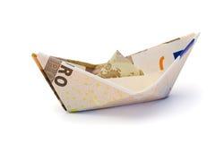 valutaeuropeansegelbåt royaltyfria bilder