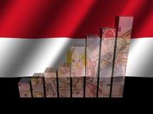 Valutagraf på krusig egyptisk flaggaillustration vektor illustrationer