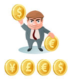 Valutahastighet Dollar euro, yen, pund Arkivfoton