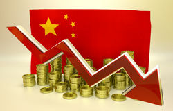Valutakollaps - kinesisk yuan Royaltyfri Bild