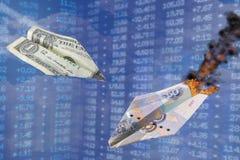 Valutakursillustration Den starka rublet för slag för dollarhastigheten som en pappers- nivå för krig slår andra Dollar vs rubel  Royaltyfria Bilder