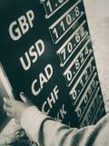 Valutaomvandlingshastigheter royaltyfri fotografi