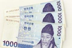 Valutasedlar fördelade över ramkorean som segrades i olik valör royaltyfria bilder