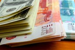 Valutaspekulation rubeldollaren Fotografering för Bildbyråer