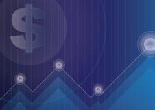 Valutasymbol på blått för finansiell affärsbakgrund Arkivbild