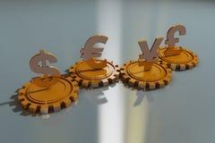 Valutasymboler och kugghjul Arkivbilder