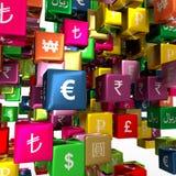 Valutasymboler på att sväva askar Arkivfoto