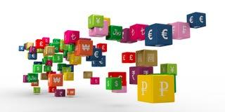 Valutasymboler på att sväva askar royaltyfri illustrationer