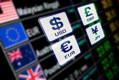 Valutasymboler undertecknar valutakurs på bräde för digital skärm Royaltyfri Fotografi