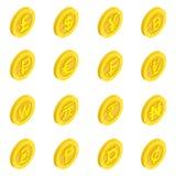 Valutasymbolsuppsättning, isometrisk stil 3d Royaltyfri Foto