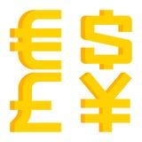 Valutatecken euro, dollar, pund, yen Arkivbilder