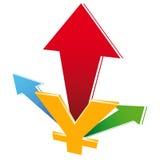 valutatillväxtsymbol Arkivbild