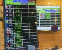 Valutavalutakurs p? digitalt LETT sk?rmbr?de royaltyfri bild