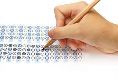 Valutazione del test del modulo di risposta con la matita Fotografie Stock