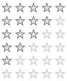 Valutazione della stella per 0 - 5 stelle Migliore valutazione Immagine Stock