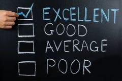 Valutazione delle prestazioni che mostra sulla lavagna immagine stock libera da diritti