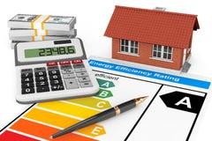 Valutazione di rendimento energetico con la casa fotografie stock libere da diritti