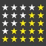 Valutazione semplice della stella Con i profili fa le stelle schioccare fuori da fondo Immagini Stock