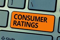 Valutazioni del consumatore del testo di scrittura di parola Concetto di affari per risposte date dai clienti dopo l'acquisto pro fotografia stock