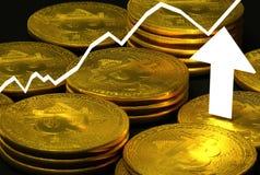 Valute della cripta con il grafico, freccia Fotografia Stock