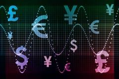 Valute globali viola blu del settore finanziario illustrazione di stock