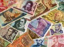 Valute intorno al mondo, banconote di carta. Fotografie Stock