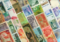 Valute intorno al mondo, banconote di carta. Immagini Stock Libere da Diritti