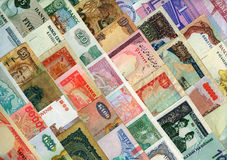 Valute intorno al mondo, banconote di carta. Fotografia Stock Libera da Diritti