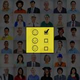 Valuti il concetto di valutazione del questionario di statistiche di valutazione fotografie stock