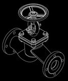 Valve. Illustration of three dimensional valve isolated on black Stock Photography
