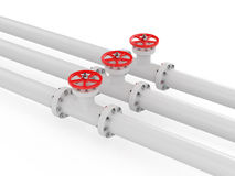 Valve. 3d render of pipelines on white background Royalty Free Stock Images