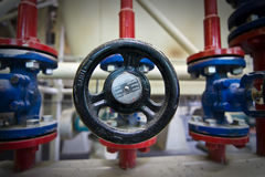 VAlve. On gas pipeline in factory stock photo