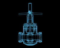 Valve. (3D x-ray blue transparent isolated on black Stock Photography