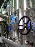 Valve. Pipeline and valves in the factory royalty free stock image