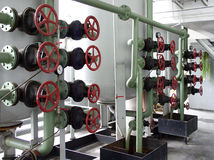 Valve. Pipeline and valves in the factory stock image