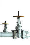 Valve. This pipe will use to flow gas to the distribution facility Stock Image