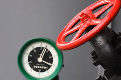Valve And Pressure Gauge Stock Photography