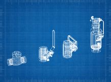 Valve Architect blueprint. Photo Of the Valve Architect blueprint stock photo