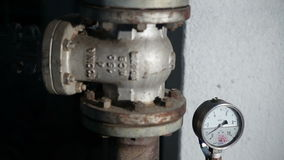 Valve With a Barometer in Manufacturing. Valve With a Barometer. Manufacture of Food Products stock video footage