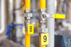 Valve closed pipe tag gas supply Royalty Free Stock Photo