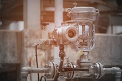 Valve control. Flow control valve in petrochemical plant Stock Images