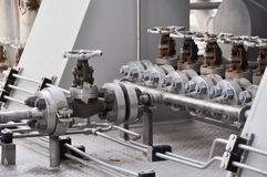 Valve control in turbine skid. Many valve set for control production process and control by human, close and open function Stock Photography