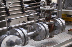Valve control in turbine skid. Many valve set for control production process and control by human, close and open function Stock Photos