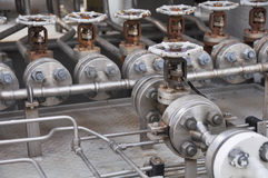 Valve control in turbine skid. Many valve set for control production process and control by human, close and open function. By worker or operator Stock Photography