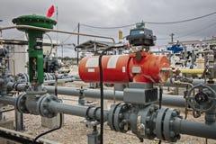 Valve de contrôle de flux de Pneunatic pour la raffinerie industrielle ou l'usine chimique Photo libre de droits