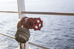 Valve on deck of a ship Stock Images