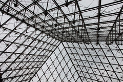 The valve dome pyramid over the entrance to the Louvre Stock Photo