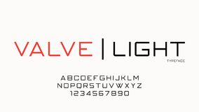 Valve fashion trendy futuristic decorative vector font design, a. Lphabet, typeface, typography, letters and numbers. Swatch color control Royalty Free Stock Images