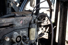 Valve and filters of diesel fuel on the old engine , Engine not Stock Photo